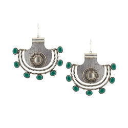 Sterling Silver Pankha Drop Earrings with Green Crystals