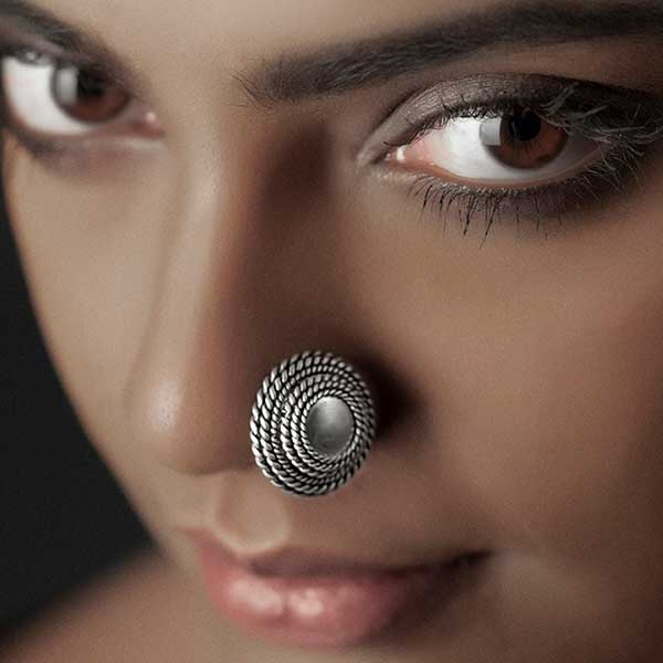 Sterling Silver Large Circles Nose Pin