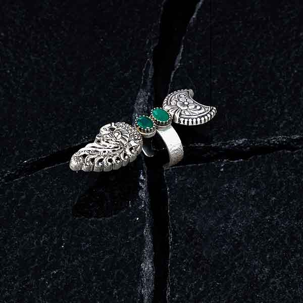 Sterling Silver Peacock & Floral Ring with Green Crystals