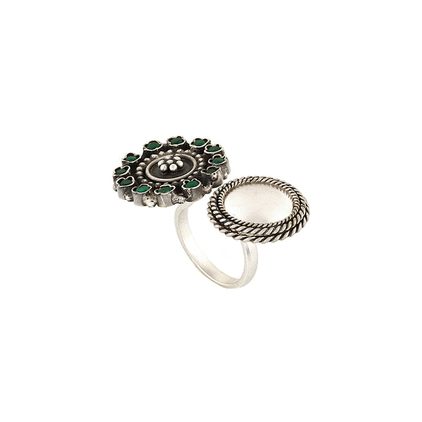 Sterling Silver Open Finger Ring With Floral Emblem & Green Crystals
