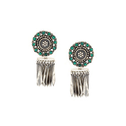 Sterling Silver Tassel Jhumki Earrings With Green Crystals