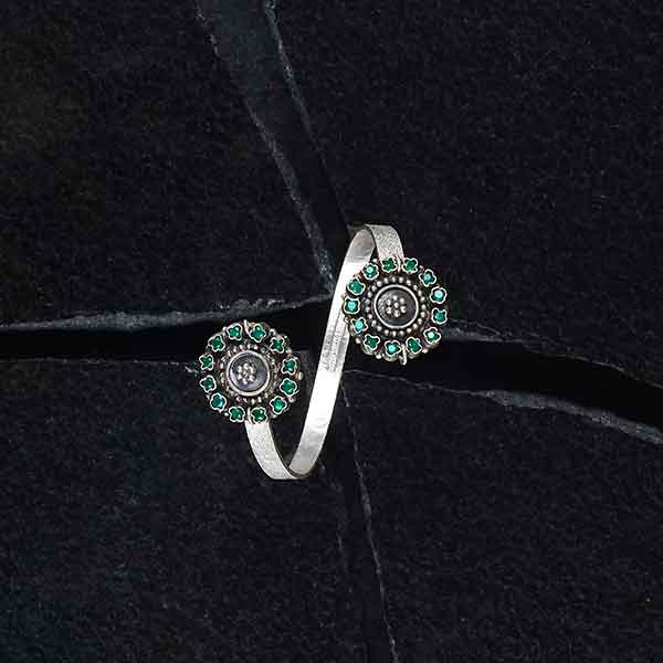 Sterling Silver Wrap Cuff with Green Crystal Pendants