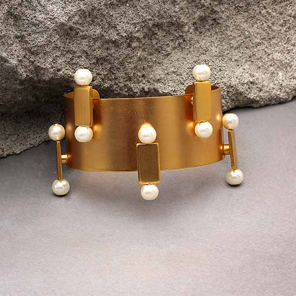 Gold Toned 'Brick & Pearl' Broad Cuff
