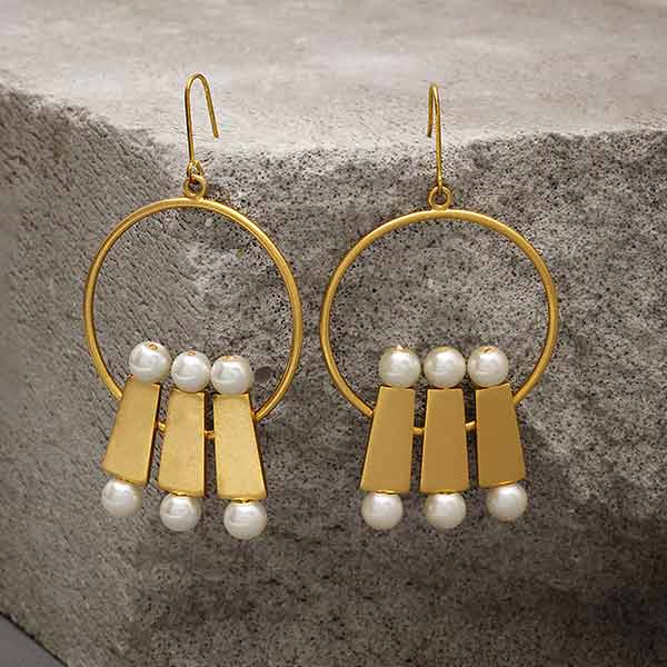 Gold Toned Trio 'Brick & Pearl' Hoop Earrings