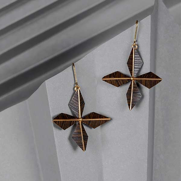 Gold Toned 'Petals' Drop Earrings with Wood Details