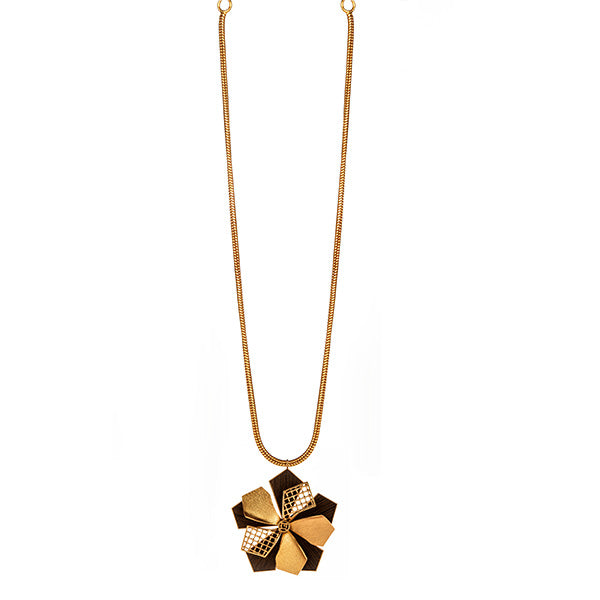 Gold Toned Long Necklace with Wood Detailed 'Petals' Pendant