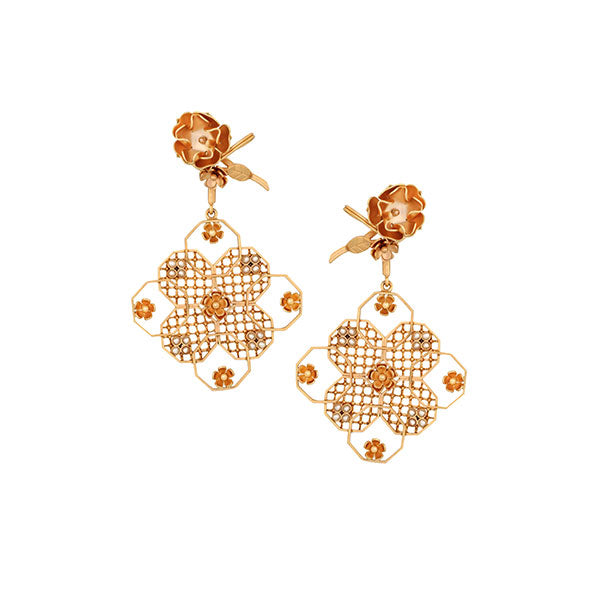 Gold Toned Octagonal Mesh Floral Drop Earrings Worn by Lakshmi Manchu