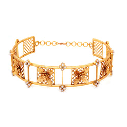 Gold Toned Mesh Panel Choker With Floral Motifs