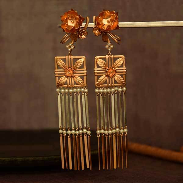 gold-&-silver-toned-floral-jali-earrings-with-flat-tassels