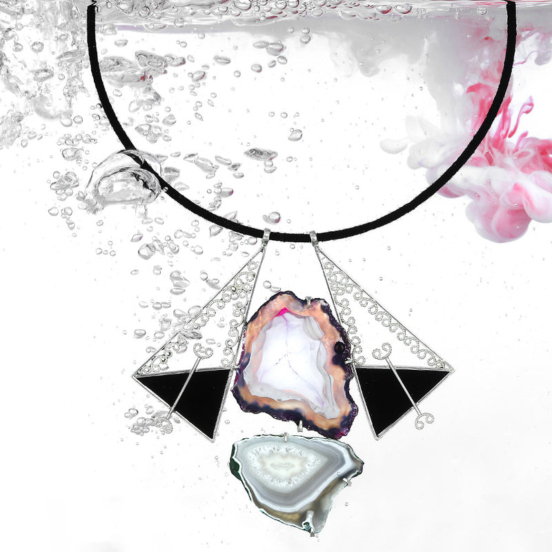 black-cord-necklace-with-sterling-silver-triangular-pendants-and-agate-stones