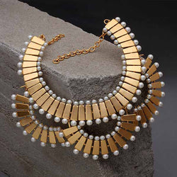 Gold Toned 'Brick & Pearl' Cascaded Collar Necklace