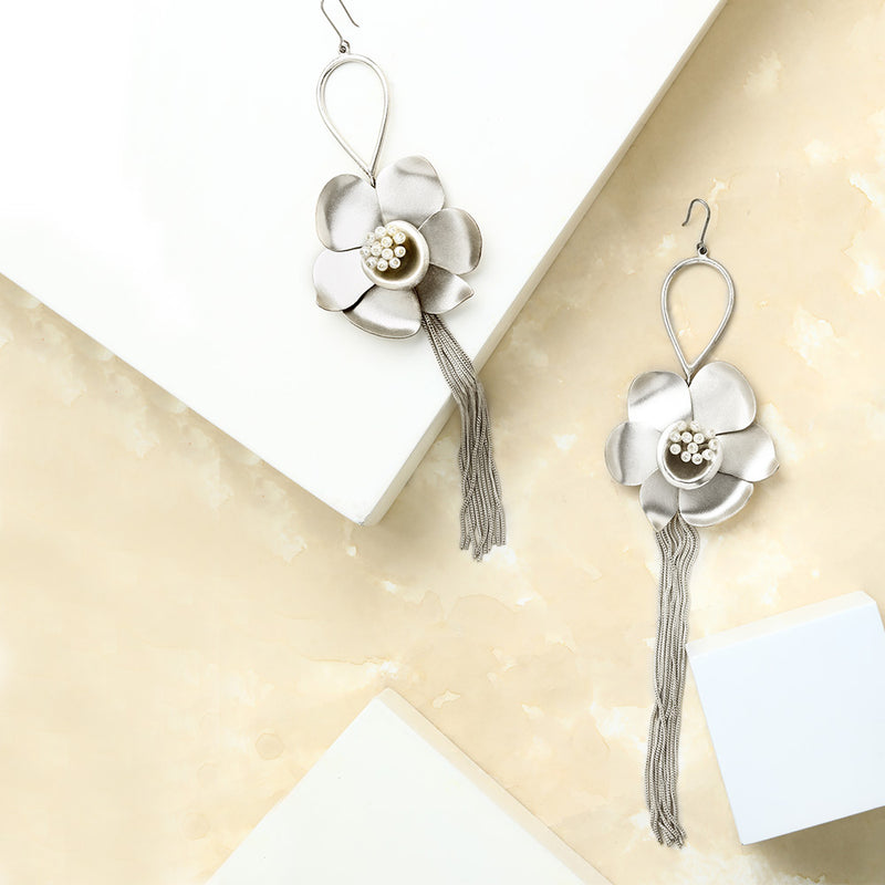 SILVER TONED BUTTERCUP DROP EARRINGS WITH TASSELS
