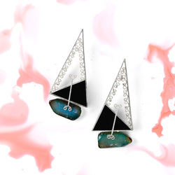 STERLING SILVER TRIANGULAR FILIGREE EARRINGS WITH AGATE STONE