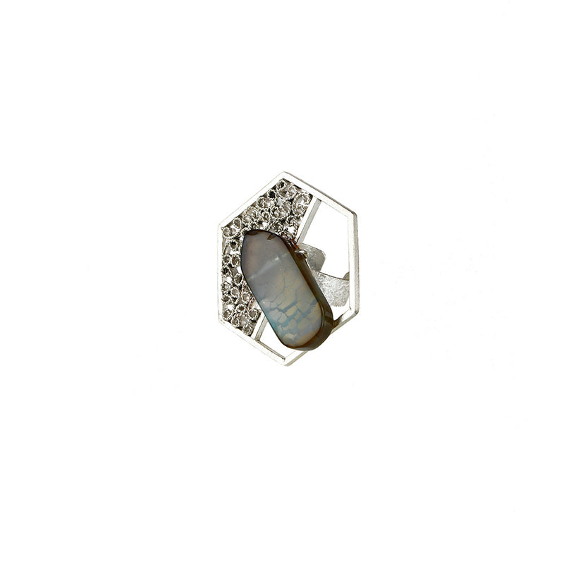STERLING SILVER SPLIT GEOMETRIC FILIGREE RING WITH AGATE STONE