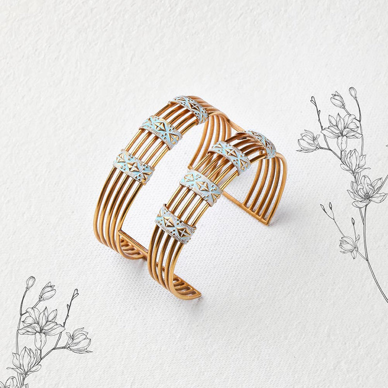 GOLD TONED DOUBLE LINED CUFF WITH AQUA ENAMEL CHARMS