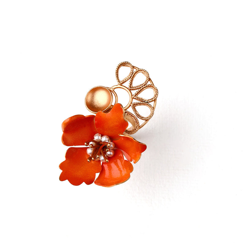 GOLD TONED WRAP RING WITH VIVID ORANGE LILY & CREST DETAIL