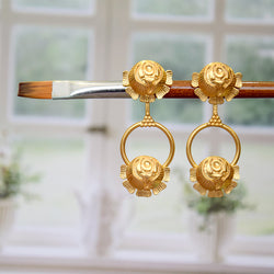 GOLD TONED DOUBLE ROSE DROP STUD EARRINGS