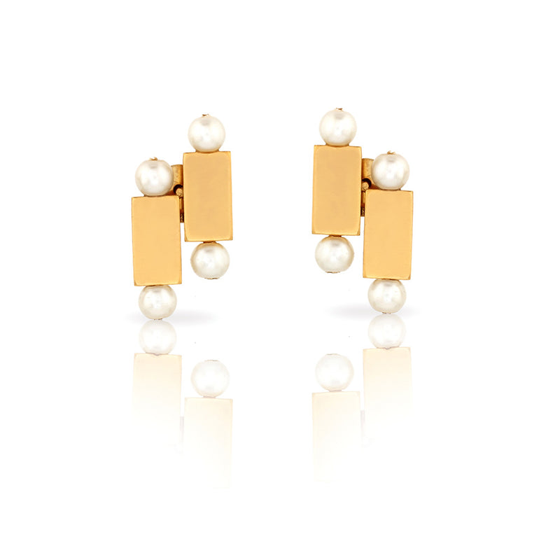 GOLD TONED BRICK AND PEARL DUO STUD EARRINGS