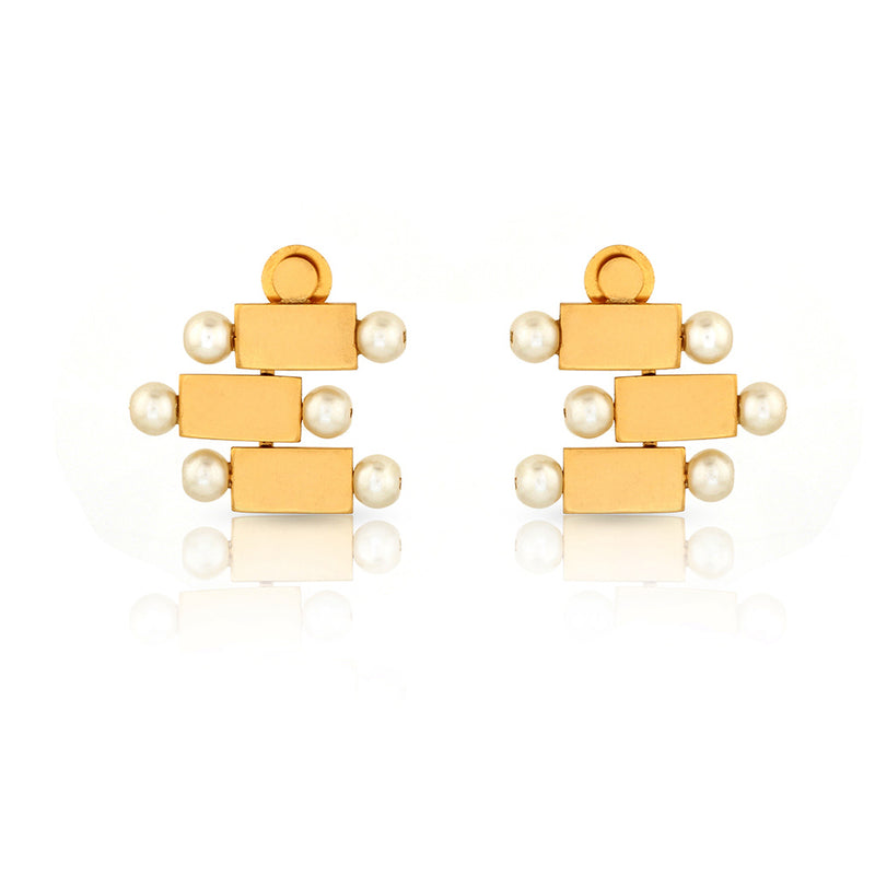GOLD TONED BRICK AND PEARL GRADUATED TRIO STUD EARRINGS