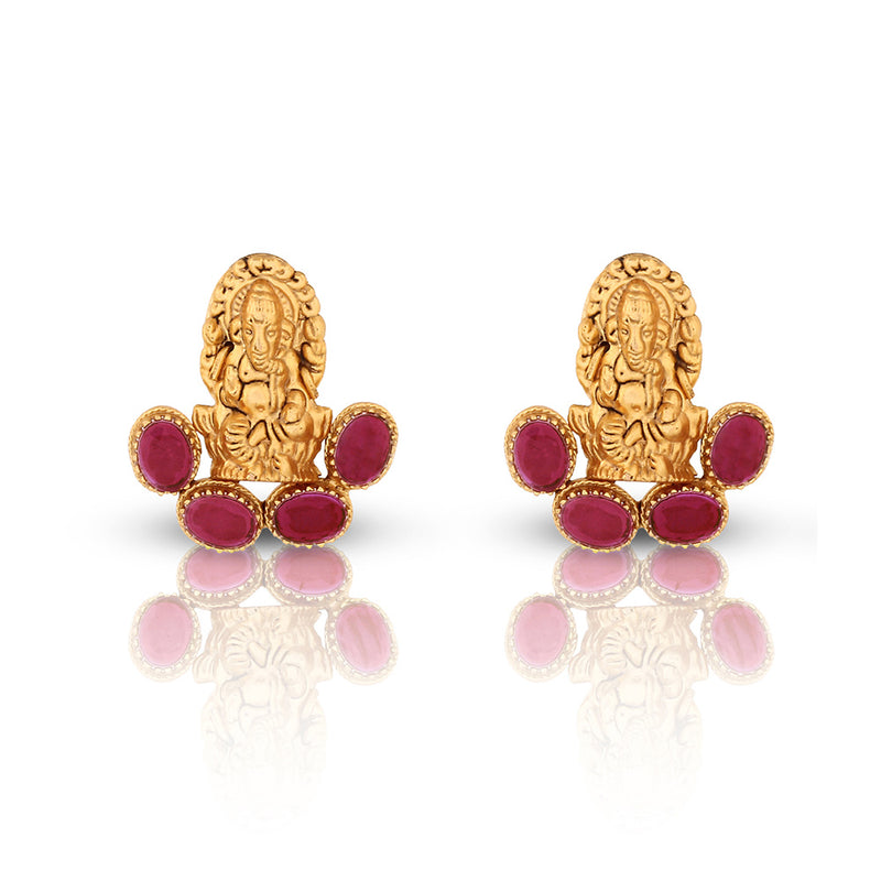 GOLD TONED GANESHA STUD EARRINGS WITH RED CRYSTALS