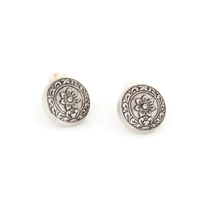 OXIDISED SILVER FLORAL MOTIF ROUND STUD EARRINGS