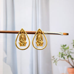 GOLD TONED DROPLET GANESHA STUD EARRINGS