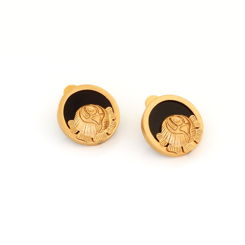GOLD TONED AND BLACK ROSE STUD EARRINGS