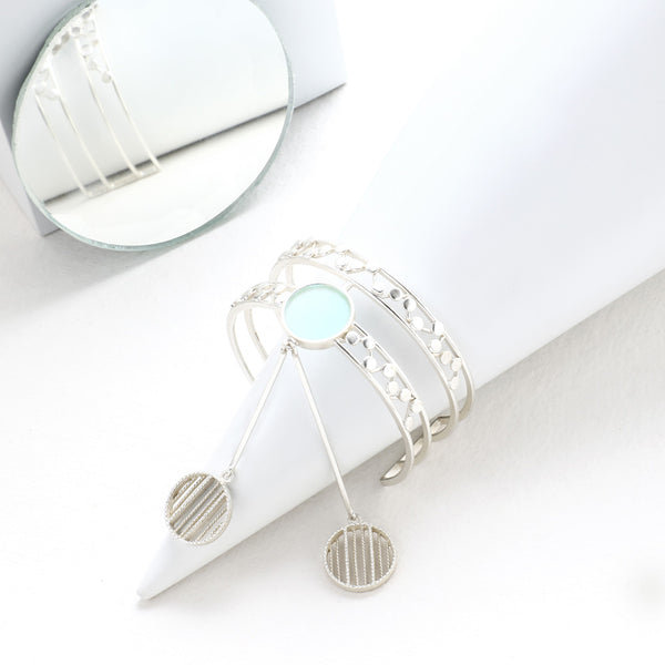 SILVER TONED DOUBLE LINED DOTTED CUFF WITH CYAN ACRYLIC CIRCLE & PENDULUM PENDANTS