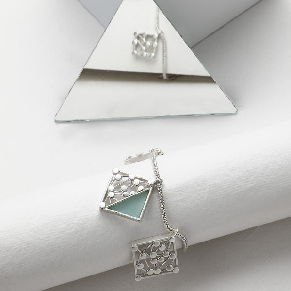 SILVER TONED BRACELET WITH DOTTED & CYAN ACRYLIC RHOMBUS CHARMS