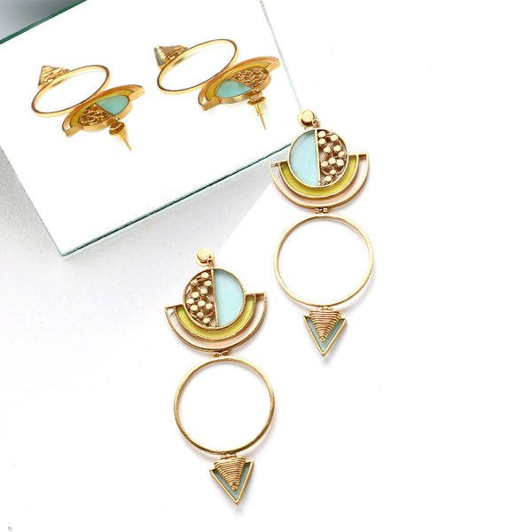 GOLD TONED CIRCULAR DROP EARRINGS WITH ACRYLIC ARCS & COILED TRIANGLES