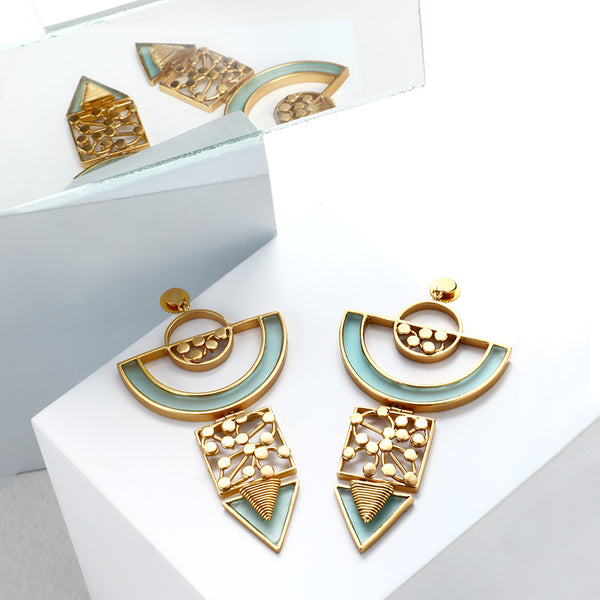 GOLD TONED SEMI-CIRCULAR DROP EARRINGS WITH CYAN ACRYLIC ARC & DOTTED COIL DETAILS