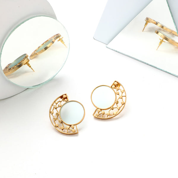 GOLD TONED CIRCULAR CYAN ACRYLIC STUDS WITH DOTTED ARC