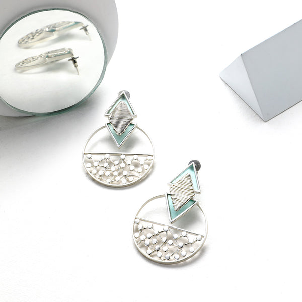 SILVER TONED COILED CYAN ACRYLIC TRIANGLE DROP EARRINGS WITH SPLIT DOTTED CIRCLES