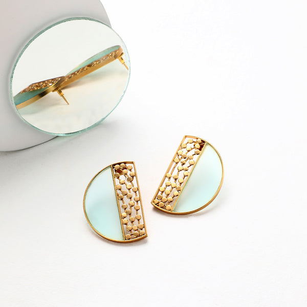 GOLD TONED SEMI-CIRCULAR CYAN ACRYLIC STUDS WITH DOTTED BLOCK