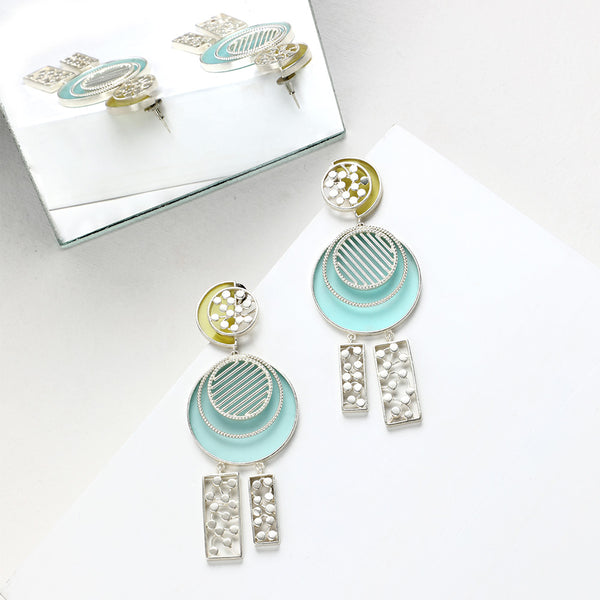 SILVER TONED CYAN ACRYLIC CIRCULAR DROP EARRINGS WITH DOTTED BLOCK CHARMS