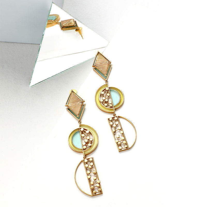 GOLD TONED SEMI-CIRCULAR DOTTED DROP EARRINGS WITH ACRYLIC ARCS
