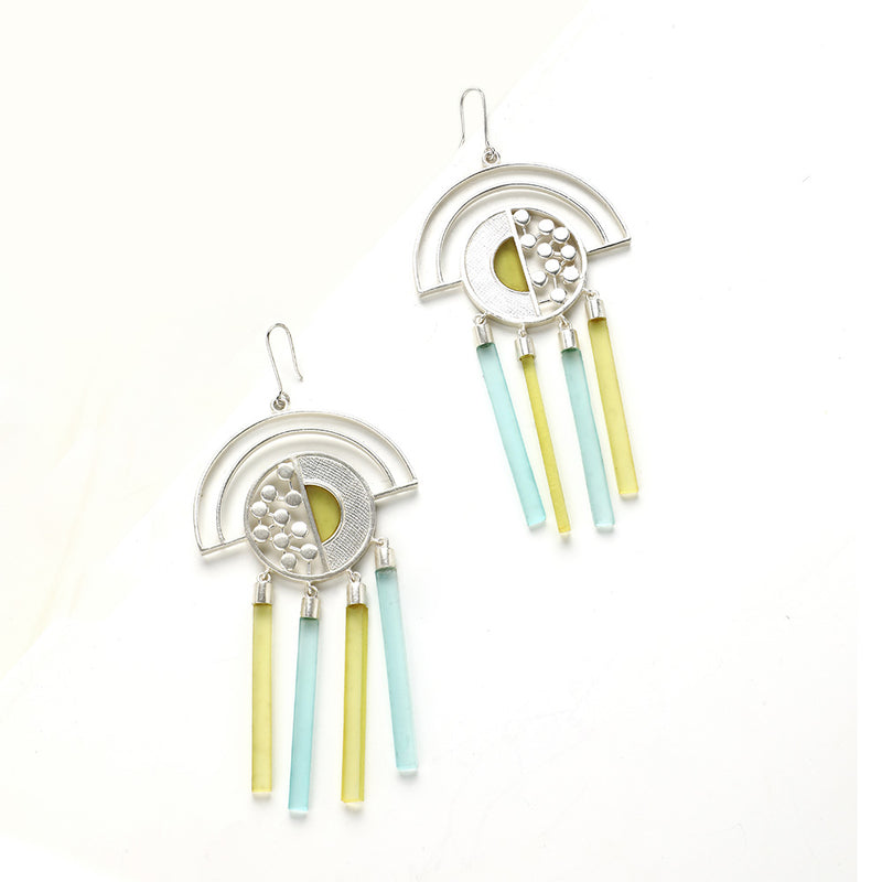 SILVER TONED SEMI-CIRCULAR DROP EARRINGS WITH MIXED ACRYLIC BAR CHARMS