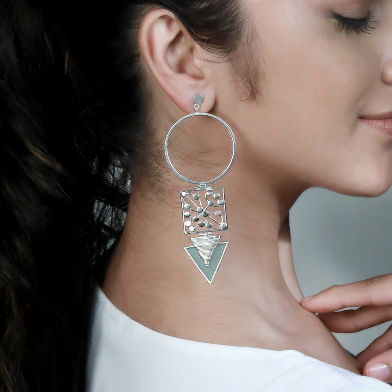 SILVER TONED CIRCULAR DROP EARRINGS WITH DOTTED BLOCK & CYAN ACRYLIC TRIANGLE