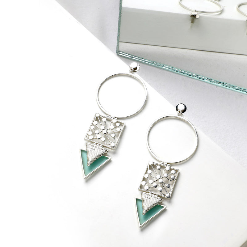 SILVER TONED CIRCULAR DROP EARRINGS WITH DOTTED BLOCK & CYAN ACRYLIC TRIANGLE WORN BY SANYA MIRZA