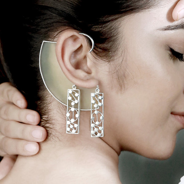 SILVER TONED YELLOW ARC EAR CUFFS WITH DOTTED BLOCK CHARMS