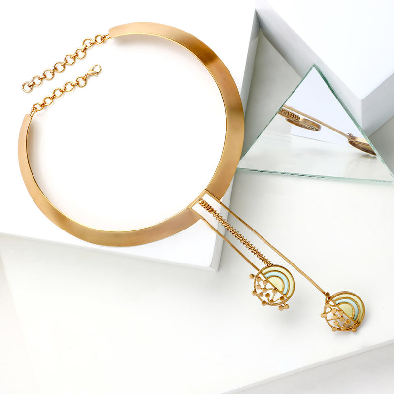 GOLD TONED COLLAR NECKLACE WITH SPLIT CIRCULAR ACRYLIC & DOTTED PENDULUM CHARMS