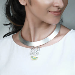 SILVER TONED COLLAR NECKLACE WITH DOTTED BLOCK & ACRYLIC ARCS PENDANT