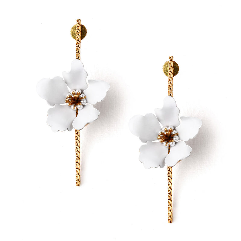 GOLD TONED WHITE LILY BAR EARRINGS