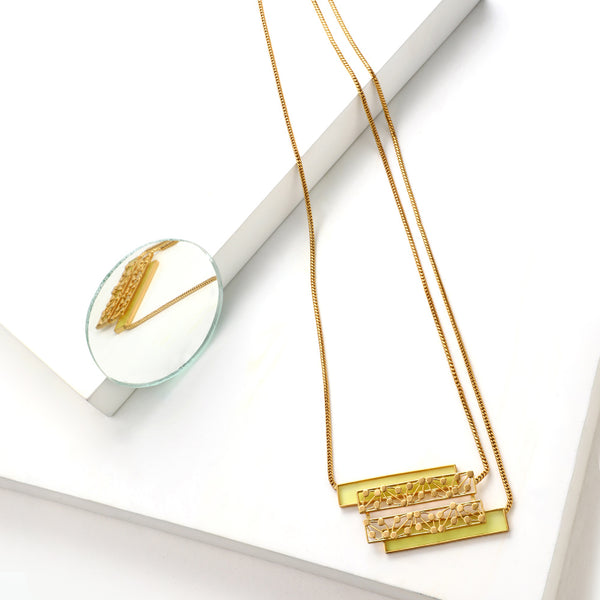 GOLD TONED CHAIN NECKLACE WITH YELLOW ACRYLIC & DOTTED BLOCK PENDANT
