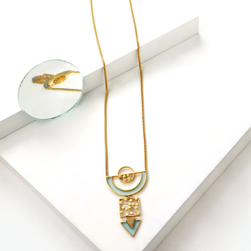 GOLD TONED CHAIN NECKLACE WITH CYAN ACRYLIC ARC & DOTTED SEMI-CIRCULAR PENDANT