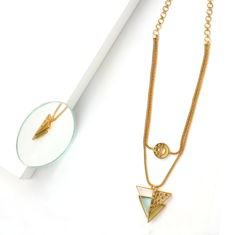 GOLD TONED CHAIN NECKLACE WITH CYAN & CHARTREUSE ACRYLIC DOUBLE TRIANGLE PENDANT