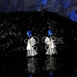 Sterling Silver Vine Earrings With Perforated Pleats & Royal Blue Swarovski Crystals