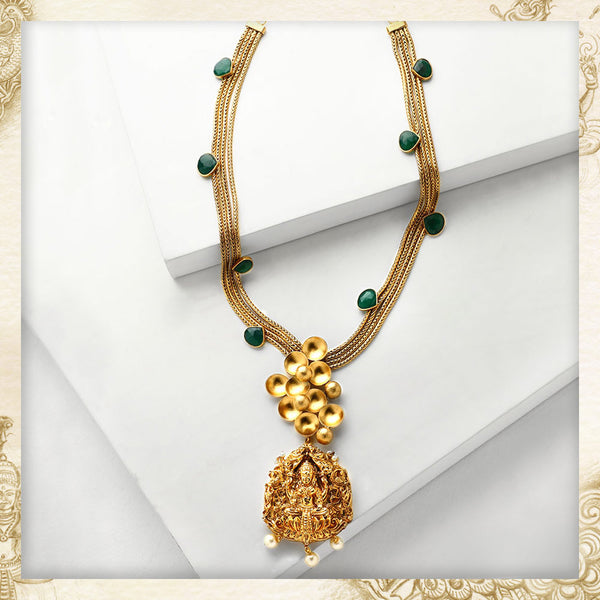 GOLD TONED MULT-CHAIN LONG NECKLACE WITH LAKSHMI PENDANT & GREEN Onyx