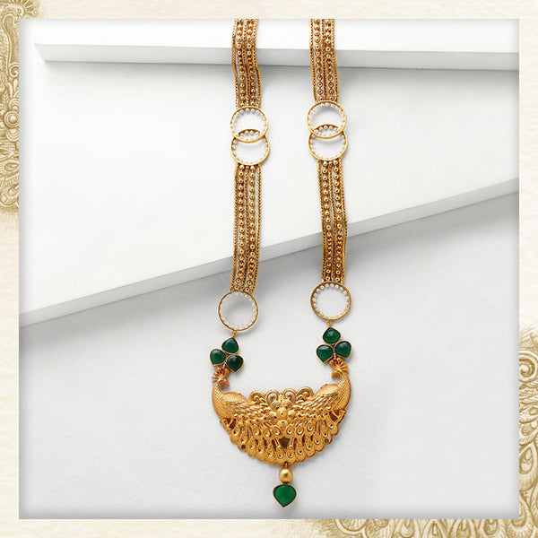 GOLD TONED CHAIN & LINK LONG PEACOCK NECKLACE WITH GREEN Onyx