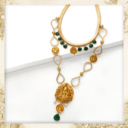 GOLD TONED LAKSHMI CHARM LAYERED LONG NECKLACE WITH DROP MOTIFS & GREEN Onyx